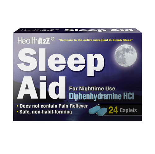 HealthA2Z Sleep Aid, Diphenhydramine HCl 25mg, Compare to Simply Sleep,  24 Caplets in a Pack (1 Pack, 3 Pack, 6 Pack)
