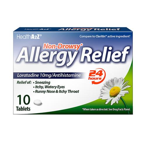 HealthA2Z Allergy Relief, Loratadine 10mg/Antihistamine, 10 Tablets (1 Pack, 3 Packs & 6 Packs)
