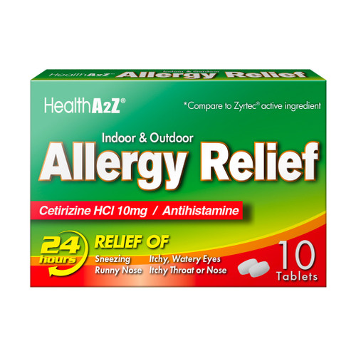 HealthA2Z Allergy Relief, All Day Allergy, Cetirizine HCL 10mg, 10 Tablets (1 Pack, 3 Packs & 6 Packs)