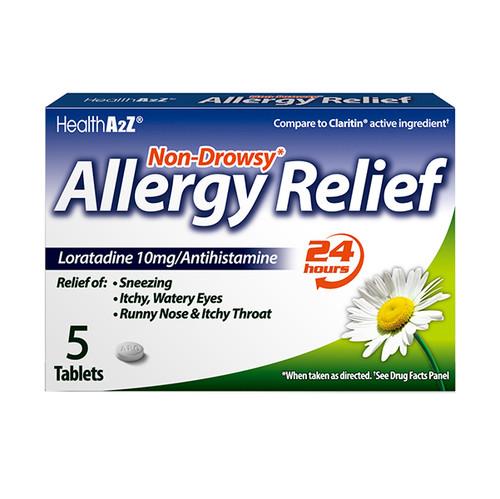 HealthA2Z Allergy Relief, Loratadine 10mg/Antihistamine, 5 Tablets (1 Pack, 3 Packs & 6 Packs)