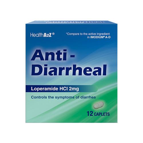 HealthA2Z Anti-Diarrheal Loperamide HCI 2mg 12 Caplets (1 Pack, 3 Packs & 6 Packs)