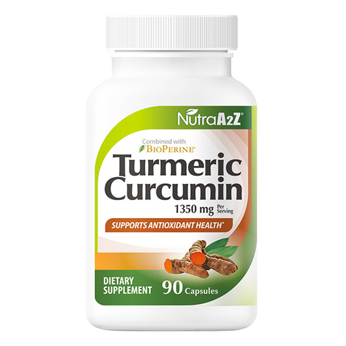 NutraA2Z Turmeric Curcumin Capsules- 1350mg - 90 Capsules - with BioPerine (Black Pepper Extract) |Made in USA|