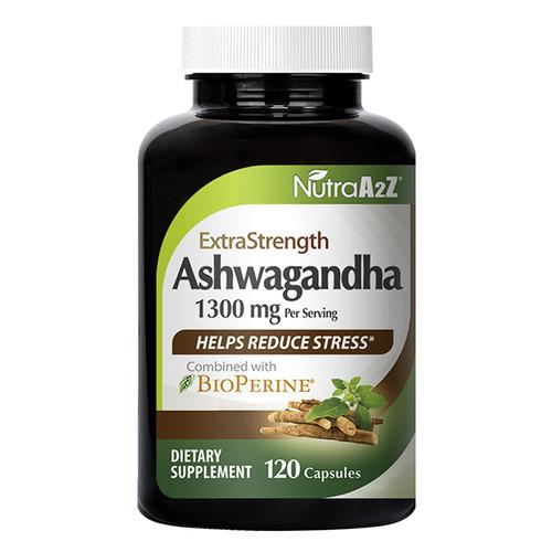 NutraA2Z Ashwagandha - 120 Capsules - 1300mg Ashwagandha Root Powder & 10mg BioPerine (Black Pepper Extract) for Higher Absorption