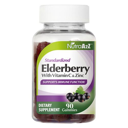 NutraA2Z Elderberry Gummy 150mg - 90 Gummies-with Vitamin C & Zinc - Vegan