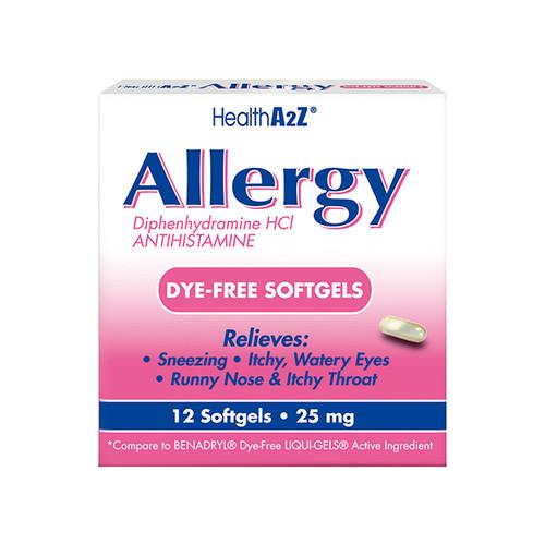 HealthA2Z® Allergy Relief, Diphenhydramine HCL 25mg, dye-free softgels