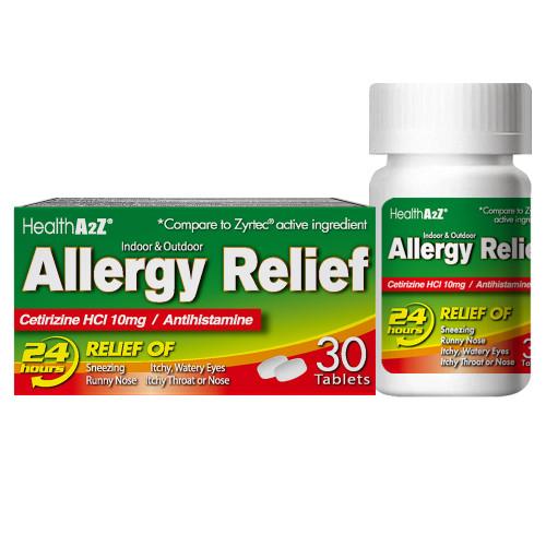 HealthA2Z Allergy Relief, Cetirizine HCl 10mg, 30 Tablets