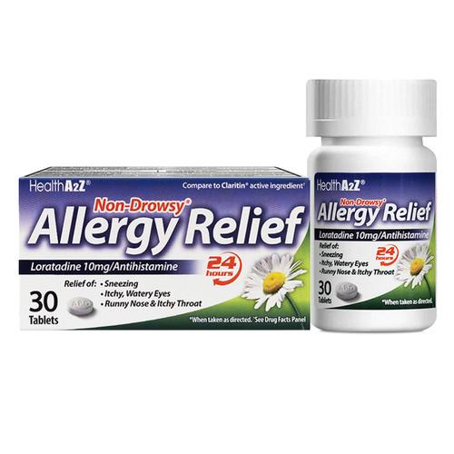 HealthA2Z Allergy Relief, Loratadine Tablet 10mg/ Antihistamine, Non-Drowsy, 30 Counts, 24-Hour Allergy Medicine