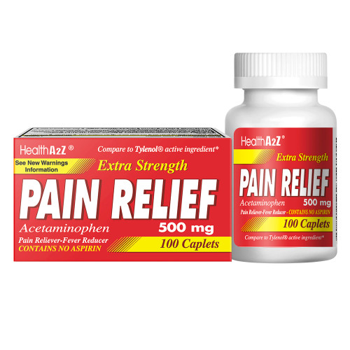 HealthA2Z Pain Relief Extra Strength, Acetaminophen 500mg, Compare to Tylenol Active Ingredient, 100 Caplets, Uncoated