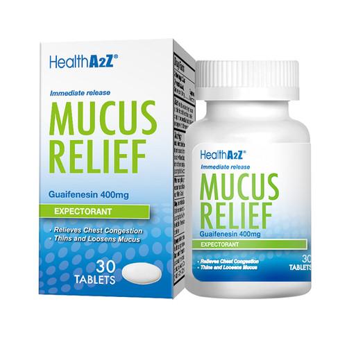 HealthA2Z Mucus Relief, Guaifenesin 400mg, 30 Tablets