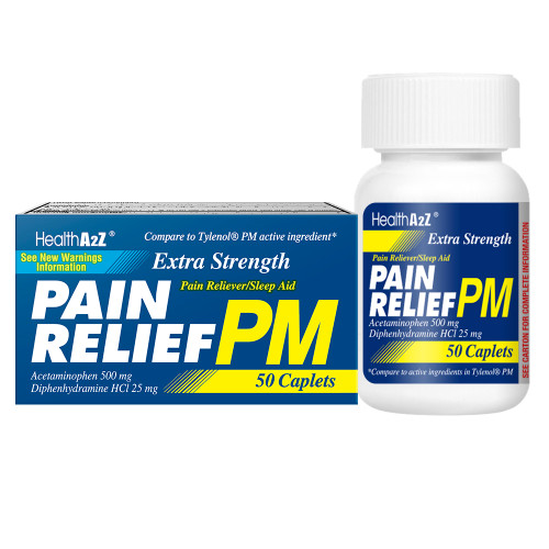 HealthA2Z Extra Strength Pain Relief PM, Compare to Tylenol PM Active Ingredients, 50 Caplets