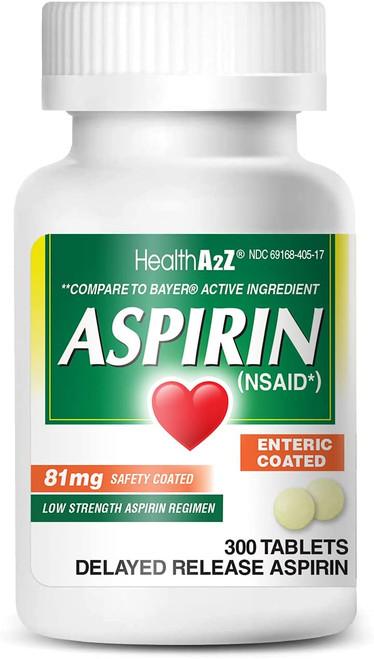 HealthA2Z Aspirina 81mg de baja resistencia, con revestimiento entérico, 300 comprimidos
