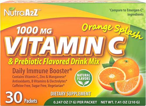 NutraA2Z 1000 mg vitamina C y mezcla de bebidas con sabor prebiótico, 30 paquetes - Soporte de digestión - Sin cafeína, sin azúcar, vegetariano