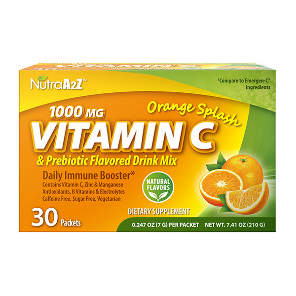 NutraA2Z 1000mg Vitamin C Prebiotic Drink Mix, Compare to Emergen-C Ingredients (30 Packets)