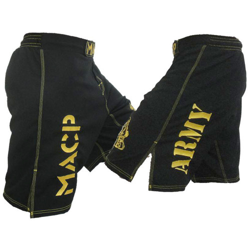 MACP Black & Gold Fight Shorts Army on Leg