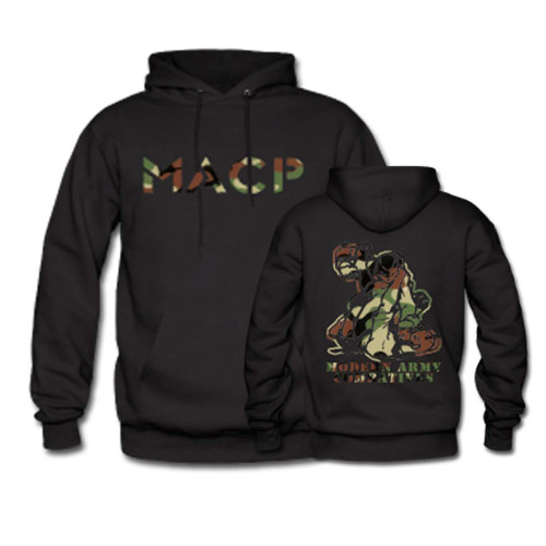 MACP Fighter Hoodie with Woodland Camo Print