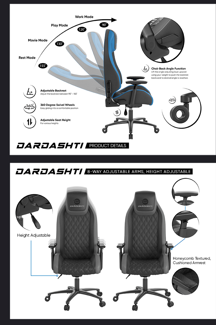 Graphical breakdown of the chair's specifications, specifically the adjustable height, arms, and swivel