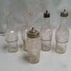 Vintage Glass Kitchen Condiment Bottles Set of 5