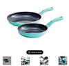 "GreenLife 7"" & 10"" Ceramic Non-Stick Fry Pan Set - Turquoise ( CC002668-001)"