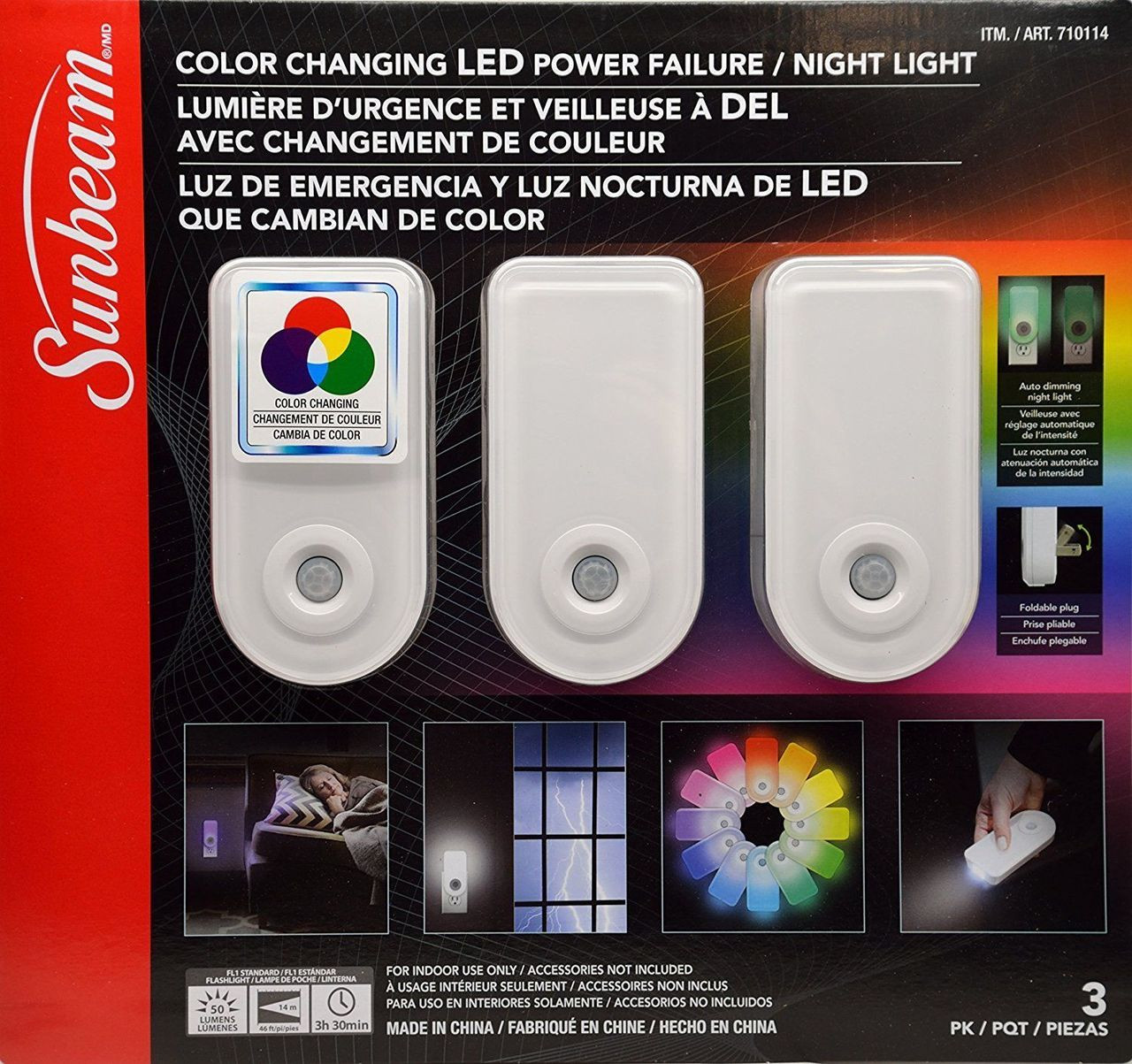 Lit Avec Lumiere Led sunbeam led night light power failure color changing 3 pack
