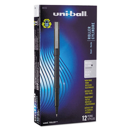 uni-ball - Roller Ball Stick Dye-Based Pen, Black Ink, Micro - 12 Pens (SAN60151)