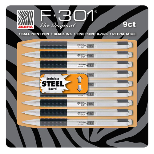 Zebra - F-301 Ballpoint Retractable Pen, Black Ink, Fine 9 Pens (11169)