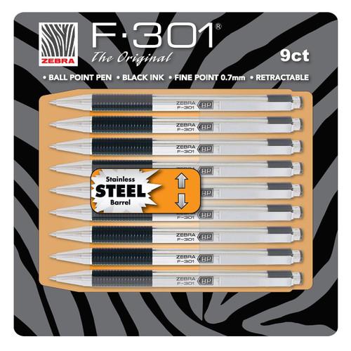 Zebra - F-301 Ballpoint Retractable Pen, Black Ink, Fine 9 Pens (11169)