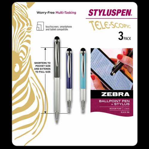Zebra Telescopic Stylus Pen, 3-Pk (10447)