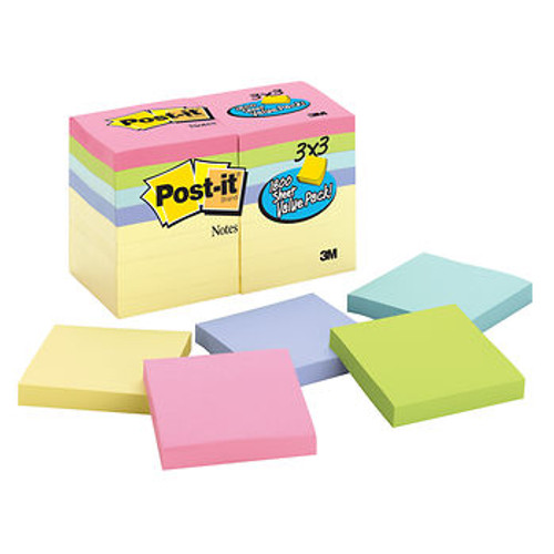 "Post-it Notes, 3"" x 3"", 100 Sheets per Pad, 18 pk. - Pastel (2026)"