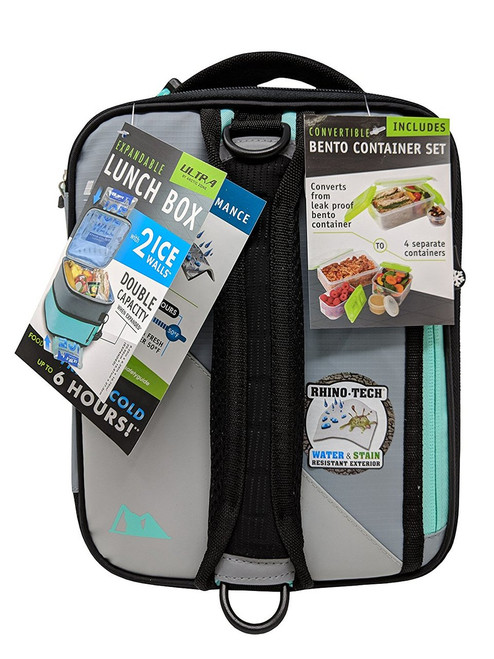 Ultra by Arctic Zone Expandable Lunch Box with 2 Ice Walls/Containers-Light Gray (061282073649)