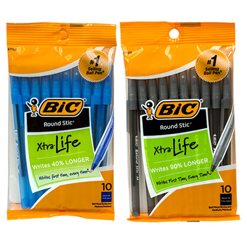 Bic Round Stic Black/Blue Pens, 10-ct. Packs (183448)