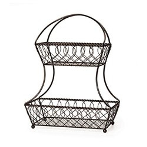 Mikasa Durable Steel Antique Black Finish 2-Tier Flatback Fruit Basket (1040019)