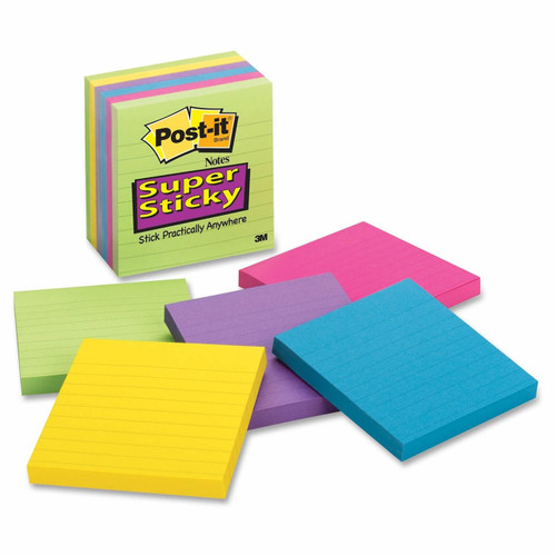 "Post-it 4"" x 4"" Ruled Super Sticky Notes, 6 pk./90 ct. ( BJ-675-6SSUC )"