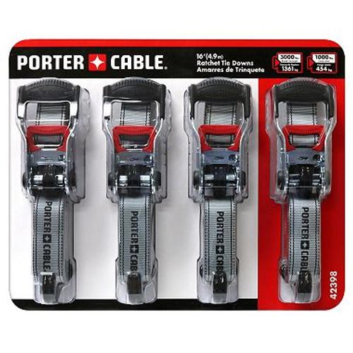 """Porter Cable 1.5""""X 16' Rachet Tie Down Set (4 Pc.) ( 42398)"""