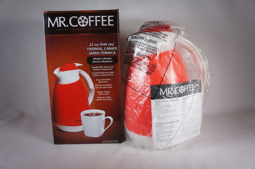 Mr. Coffee Thermal Carafe 32 Oz Red Modern Design Double Wall Glass Liner (9067)
