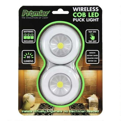 Promier Wireless COB LED Puck Light 80 Lumen 3xAAA Peel and Stick Mounting 2 Pack (PCOBX21030)