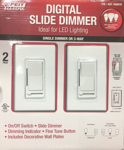 Feit Electric Digital Slide Dimmer Single or 3-Way LED or Incandescescent