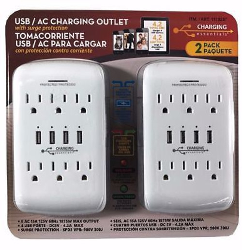 Charging Essentials USB/AC Charging Outlet with Surge Protection 2 pack ( 43223-287)