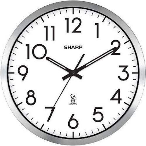 """Sharp Analog Atomic Wall Clock, 14"""" Diameter ( Atomic Clock)"""