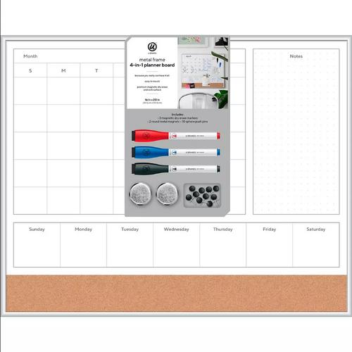 "U Brands 16"" x 20"" Magnetic Dry Erase Board - Aluminum Frame"