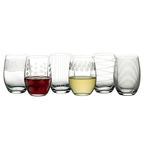 Mikasa Cheers Stemless Etched Wine Glasses, Fine European Lead-Free Crystal, (78545)