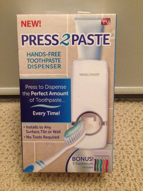 Allstar Innovations - Press 2 Paste - Hands Free Automatic Toothpaste Dispenser and Toothbrush Holder (46623) (view)