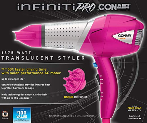 Infiniti Pro by Conair 1875 Watt Translucent Styler/Hair Dryer; Pink by Conair (575)