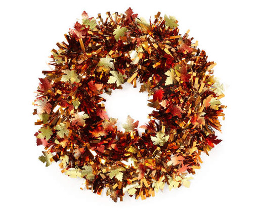 "Fall Door 17"" Harvest Round Tinsel Wreath (15323958)"