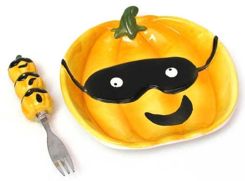 Ceramic Pumpkin Plate with Fork Set (049-60014)
