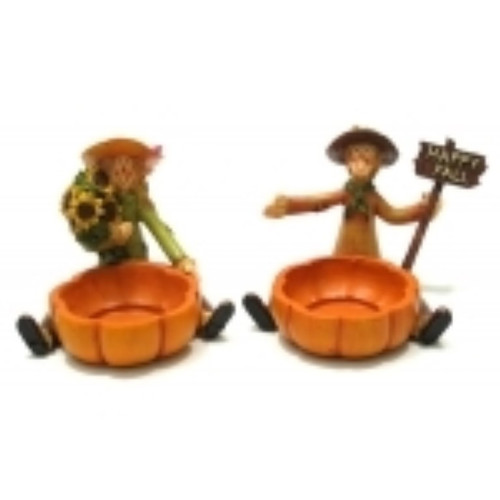 Scarecrow Harvest Candleholders Set of 2 (049-89114)