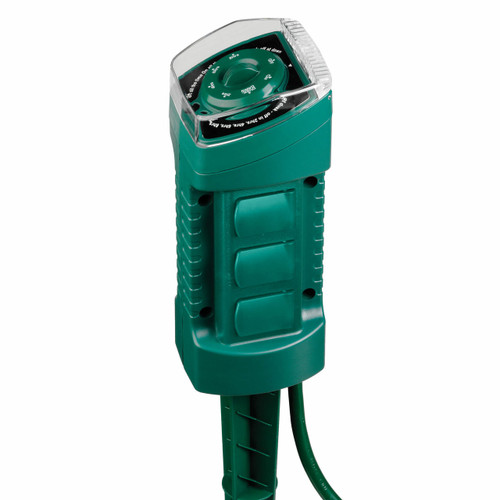 Sylvania 6 Outlet Power Stake Outdoor Green w/ Timer & 6' Light Duty Power Cord (883624122392)