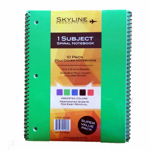 Skyline 1-Subject Spiral Notebook, 10 pk