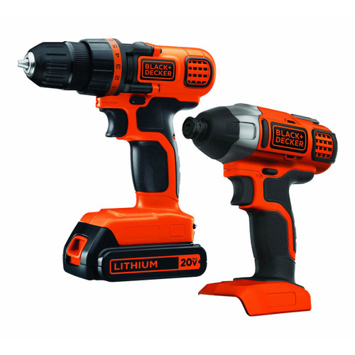 Black & Decker BD2KITCDDI 20V MAX Lithium Ion Drill/Driver + Impact Combo Kit (BD2KITCDDIBJ)