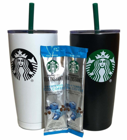 Holiday Starbucks Tumbler Gift Set Bundle With VIA Instant Sweetened Iced...