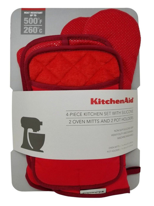 KitchenAid 4 Piece Kitchen Set with Silicone, Mitts & Pot Holder (1062562)